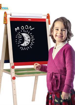 Деревянный мольберт viga toys двусторонний магнитный с бумагой для детей от 3 лет для мела и маркера