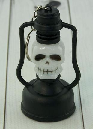 Подвеска череп с подсветкой брелок для ключей светящийся хэллоуин +подарок