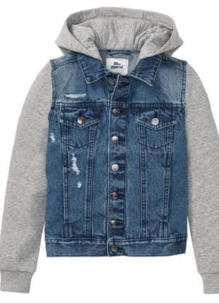 Джинсовая куртка джинсовка утеплённая флисом с капюшоном