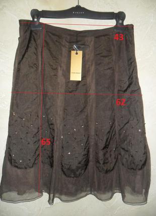 Бирка коричневая плащевая с фатином пайетками юбка миди  vero moda l-xl 14