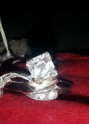 Набор сережек с кольцом, серебряный с золотом
