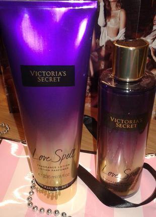 Набор лосьон для тела + гель для душа love spell от victoria's secret