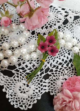 Брошь ссср советская винтаж незабудки фиалки металлическая в холодной эмали букет цветы