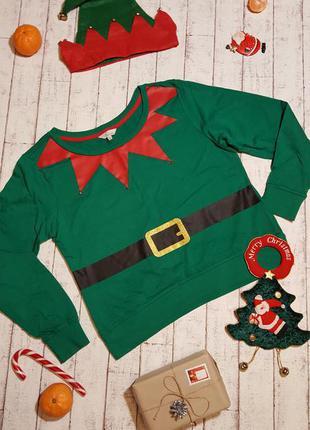 Новогодний свитер 🎅🌲  🎀 толстовка свитшот со звенящими бубенчиками размер l-xl  + подарок🎁