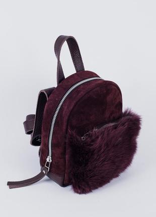 Рюкзак baby sport, натуральная кожа+замша+мех кролика!