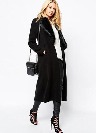 """Распродажа! пальто манто с меховым воротником """"борг"""" missguided с asos"""