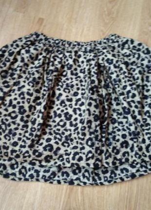 Короткая юбка-колокольчик с тигровым принтом от h&m