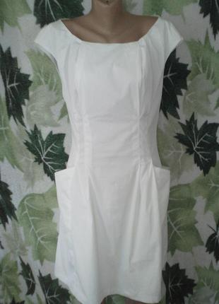 Шикарное платье сарафан халат миди с карманами белое белоснежное хлопок хлопковое  красивое