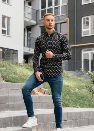 Стильная рубашка мужская с длинным рукавом