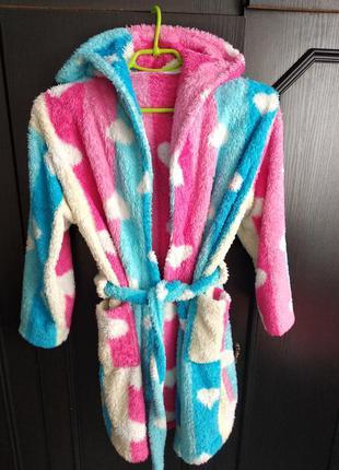 Мягкий теплый халат девочке 8-10 лет