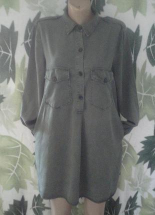 Zara woman 100% лиоцел. натуральной ткани. рубашка-платье. рубашка с карманами  удлиненная стильная нагрудными карманами