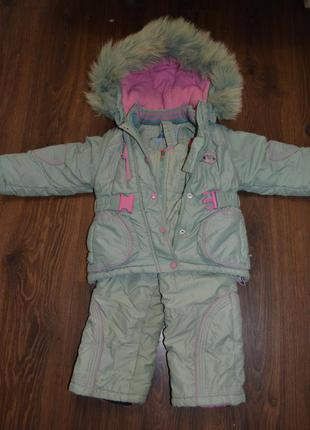 Прекрасный зимний комбинезон с курточкой  для девочки donilo