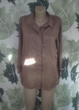 Шелк+хлопок германия удлиненная рубашка блузка рубашка-платье шелковая хлопковая шоколадного цвета шоколадка рубашка mark aurel