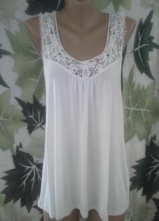 Yes or no l. туника майка удлиненная белая белоснежка кружево  ажурная