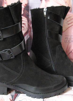 Bella женские зимние качественные сапоги ботинки черный нубук мех