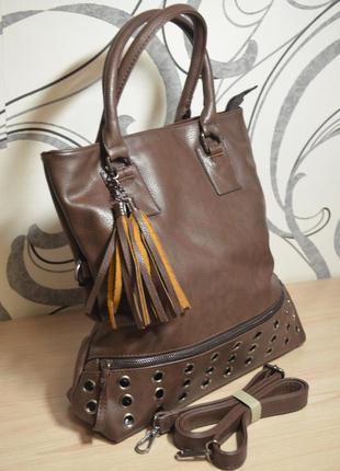 Женская сумка осень-зима, коричневая, всего 350 грн, новая