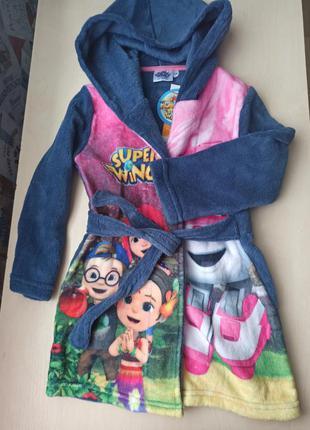 Махровий халат для дівчинки super wings, на зріст 104 см.