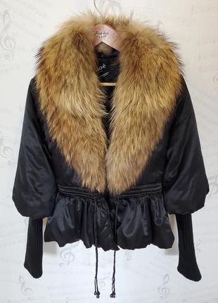 Куртка атласная chloe с вязаными рукавами