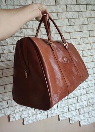 Jjb сумка дорожная брендовая кожаная + канва jean jacques benson коричневая / рижая шкіра + канвас