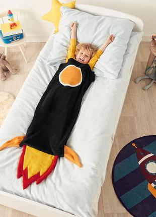 Плюшевый флисовый плед кокон спальный мешок ракета