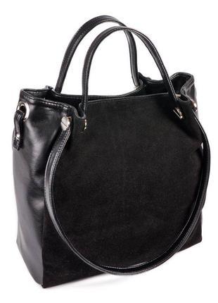 Черная замшевая сумка шоппер с длинными и короткими ручками