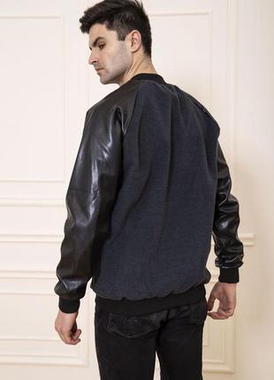 Бомбер с зам кожаными рукавами качество супер  l xxl