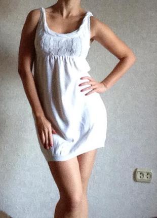 Белое короткое платье h&m