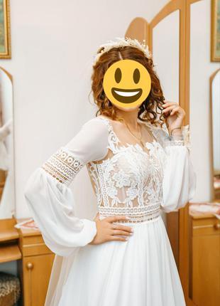 Весільне плаття в стилі бохо або рустик +кольца