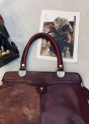 Винтажная кожаная сумочка из 50-х вместительная