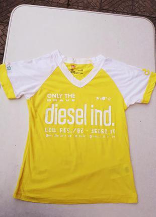 Футболка diesel котонова жовта біла