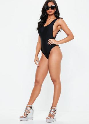 Арт. 038 черный женский закрытый купальник однотонный missguided майо закрытый