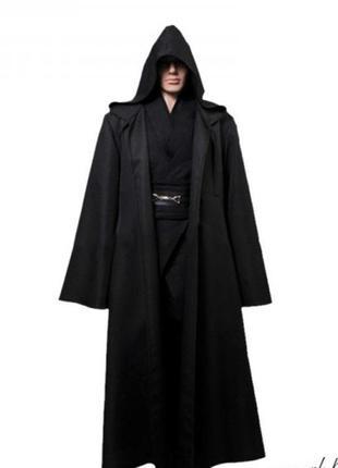 Мужской маскарадный костюм джедая звездные войны черный плащ с капюшоном маг колдун + подарок