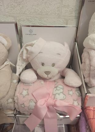 Подарочный набор для ребенка игрушка мишка и мягкий пледик в коробке