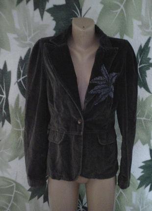 Cusiommade пиджак жакет велюр бархат 100%хлопок с бисером цветок