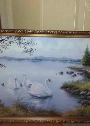 """Гобеленовая картина """"лебеди в пруду""""799грн."""