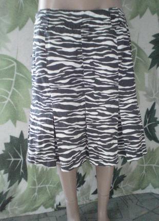 S.oliven шикарная стильная юбка с защипами на подкладе змейке  хлопковая хлопок слоями зебра