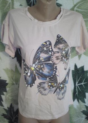Amelie folies   италия итальянская футболка блузки хлопковая хлопок бабочки