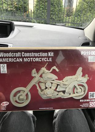 Деревянный конструктор 3д пазлы мотоцыкл сборная модель