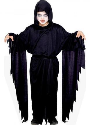 Детский маскарадный костюм на хэллоуин мрачный жнец смерть черный плащ с капюшоном +подарок