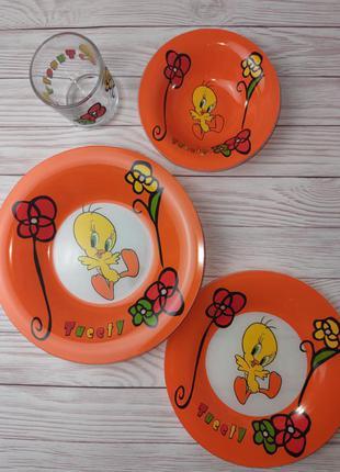 Набор 4 предмета . стеклянная детская посуда на подарок, новый год, день рождения
