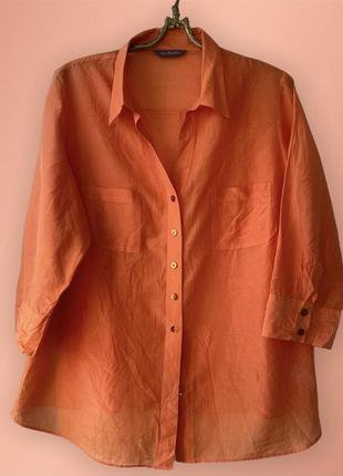 Шёлк +хлопок ✨ яркая натуральная рубашка l оранжевая