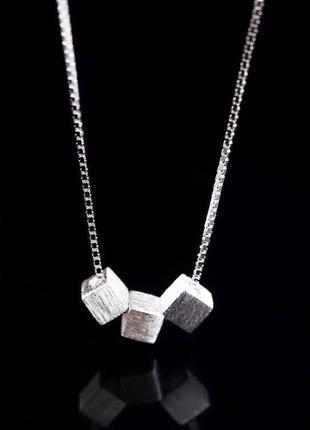 Нежная цепочка с кубиками серебро 925 минимализм / большая распродажа!