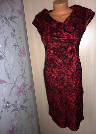 Яркое платье trg, размер m (38), цвет т.-розовый+черный, кружево. состояние нового