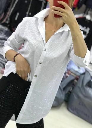 Удлиненная рубашка в стразах сваровски, люкс качество, размер хл.