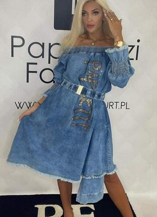 Шикарное джинсовое платье,мега стильное, последние размерчики.