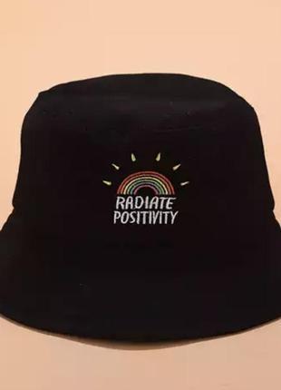 Панама летняя женская, шляпа для защиты от солнца,  панама унисекс.панама с радугой черная