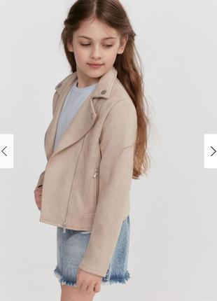 Куртка-косуха reserved из эко-замши для девочки 5-6 лет
