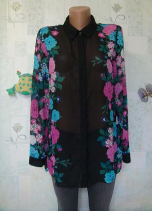 Шикарная яркая шифоновая блузка с длинным рукавом в цветочный принт 46-48 рр