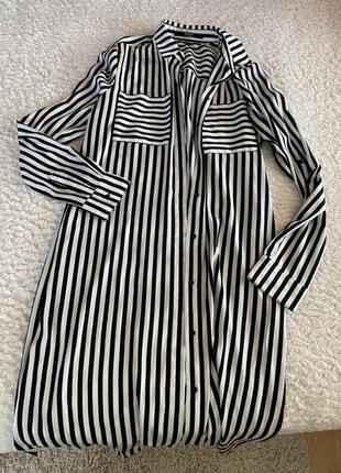 Длинная полосатая блуза guess черно белая