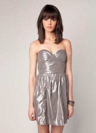 Серебристое платье бюстье bershka, m